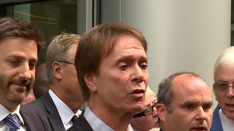 Sir Cliff Richard leaves High Court after winning his case against the BBC