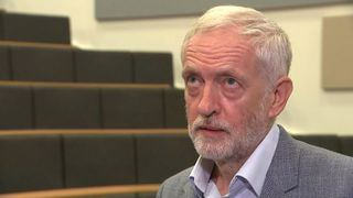 Jeremy Corbyn rolls his eyes as he is asked about his attendance at a Palestinian memorial