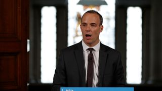 Brexit secretary Dominic Raab gestures during his speech outlining the government's plans for a no-deal Brexit  Govt lays bare consequences of 'no deal' to UK skynews dominic raab brexit 4398557