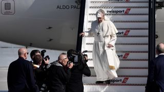 at Dublin Airport on August 25, 2018 in Dublin, Ireland. Pope Francis is the 266th Catholic Pope and current sovereign of the Vatican. His visit, the first by a Pope since John Paul II's in 1979, is expected to attract hundreds of thousands of Catholics to a series of events in Dublin and Knock. During his visit he will have private meetings with victims of sexual abuse by Catholic clergy.  Francis 'compares cover-up to human excrement' during meeting with abuse survivors skynews francis pope 4400361