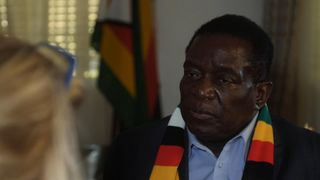 """Zimbabwe's President Emmerson Mnangagwa has told Sky News he has """"no problem"""" with Robert Mugabe, and Britain is better when it has a female prime minister.  Zimbabwe's worst economic crisis in a decade: Street vendors sell contraband skynews zimbabwe president 4381935"""