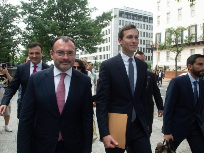 Mexican Foreign Minister Luis Videgaray and Jared Kushner ahead of the announcement  Donald Trump announces new trade deal with Mexico skynews luis videgaray jared kushner 4402856