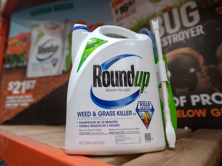 Roundup is made by Monsanto and is widely available from garden centres
