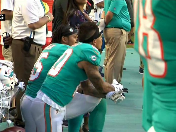 The protests came in defiance of continued criticism from Donald Trump  NFL stars defy kneeling ban with creative protests during national anthem skynews nfl protests 4385656