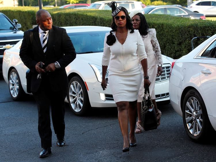 Omarosa Manigault-Newman arrives for the funeral service for Aretha Franklin at the Greater Grace Temple in Detroit, Michigan, U.S., August 31, 2018. REUTERS/Mike Segar