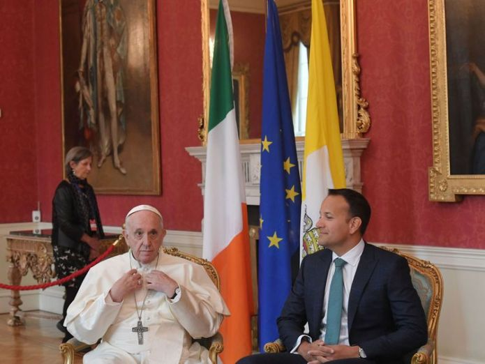 The Pope and Leo Varadkar both gave speeches at Dublin Castle  Francis 'compares cover-up to human excrement' during meeting with abuse survivors skynews pope varadkar 4400709