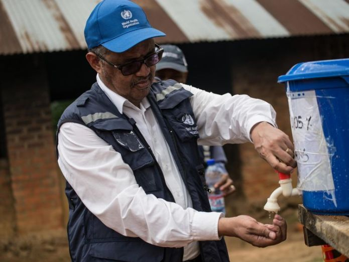 Director-General of WHO (World Health Organization) Tedros Adhanom Ghebreyesus  WHO vows to fight new Ebola outbreak in DR Congo skynews tedors ebola congo 4377897
