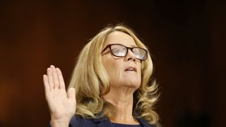 Professor Christine Blasey Ford is sworn in to testify before a Senate Judiciary Committee confirmation hearing for Kavanaugh  'It's a very scary time for young men in America' skynews christine blasey ford 4435387
