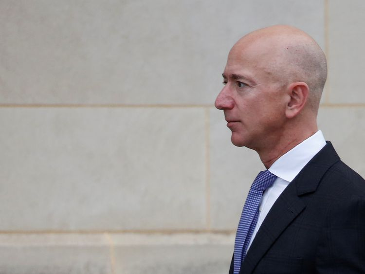 Amazon founder Jeff Bezos arrives for Senator McCain's memorial