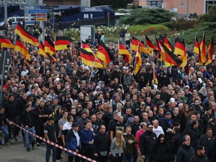 Far-right protest in Chemnitz, Germany  Germans told to 'get off sofa' amid far-right protests skynews chemnitz germany protests 4409489