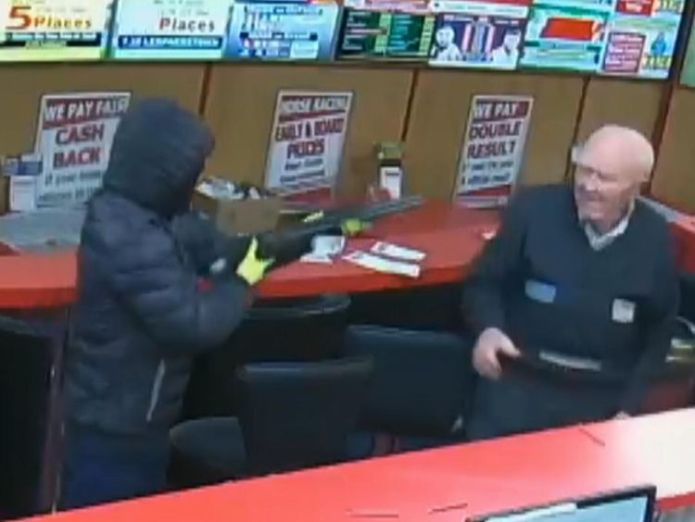 Mr O'Connor ignored the raider armed with a shotgun and went to help Mr Murphy  Great-grandfather, 83, fights off armed robbers at bookies in Ireland skynews denis oconnor bookmakers 4424122