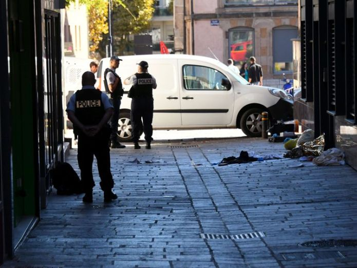 A man, 39, was arrested after fleeing the scene of the attack in Rodez in southern France  French police chief stabbed to death 'over dog ban' skynews france police stabbed 4436073