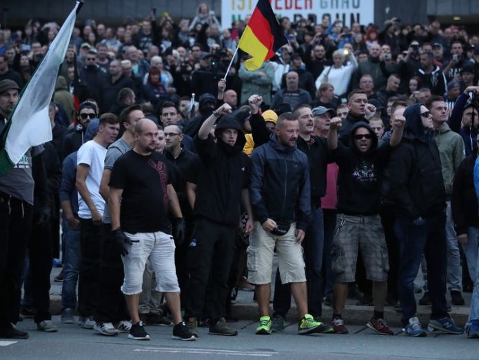Around 4,500 far-right supporters marched  Call for calm as two Afghans held over death of 22-year-old German man skynews germany protest 4408748
