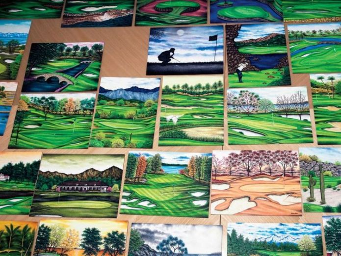 Some of the artwork by Valentino Dixon. Pic: Golf Digest  Golf artist wrongly convicted of murder freed after 27 years in US jail skynews golf digest golf sport 4427134