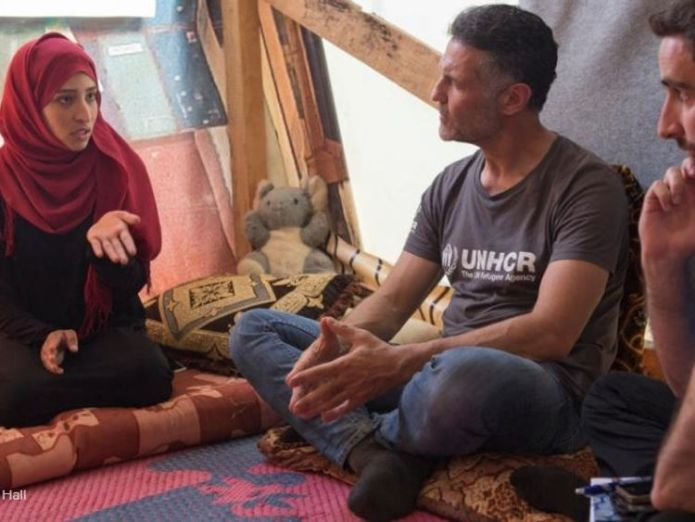 Khaled Hosseini visited Lebanon in June 2018. Pic: UNHCR/Andy Hall  'Memory of tragic Alan Kurdi death is fading' skynews khaled hosseini un 4410178