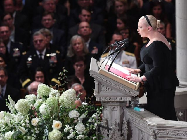 Meghan McCain, daughter of US Senator John McCain, speaks during a memorial service for her father at the Washington National Cathedral in Washington, DC, on September 1, 2018. (Photo by SAUL LOEB / AFP) (Photo credit should read SAUL LOEB/AFP/Getty Images)