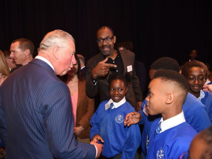Prince Charles meets schoolchildren with Sir Lenny Henry at the Royal Albert Hall in London  Stars join Prince Charles to demand all children get access to the arts skynews prince charles 4412622