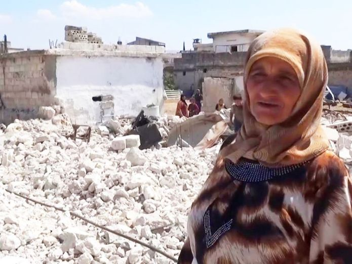 Haleem Tamro's two children were killed in airstrikes  Idlib's residents protest in rebel stronghold amid airstrike lull skynews syria idlib 4418102