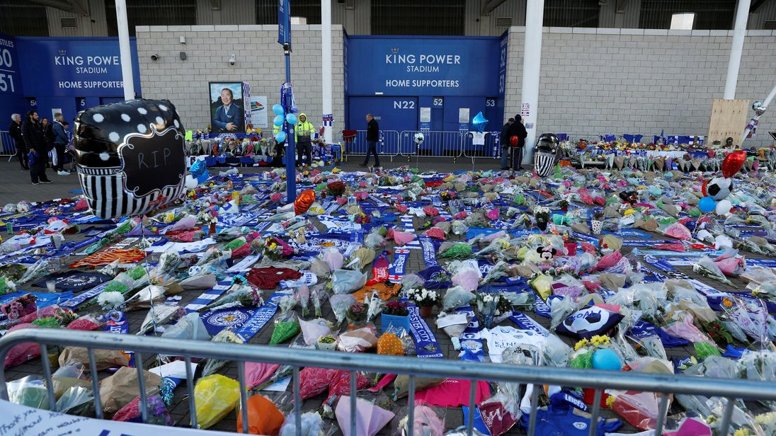 Tributes outside Leicester City's King Power stadium