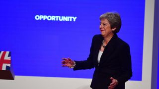 Prime Minister Theresa May dances as she arrives on stage to make her speech   Ireland 'cannot accept' Brexit backstop time limit, Republic's deputy PM says skynews theresa may conservative conference 4441681