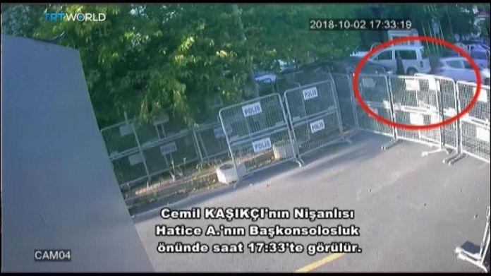 Jamal Khashoggi's fiancee outside the Saudi consulate in Istanbul  15-man Saudi 'hit squad' pictured on day journalist disappeared skynews jamal khashoggi saudi consulate 4449018