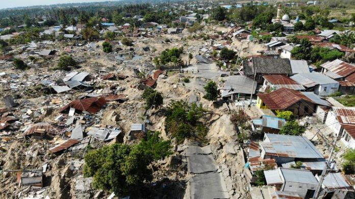 An area of Palu where shaking of the ground has caused roads to break up and houses to be swallowed  Why the ground turns to liquid in an earthquake skynews palu earthquake liquefaction 4440482