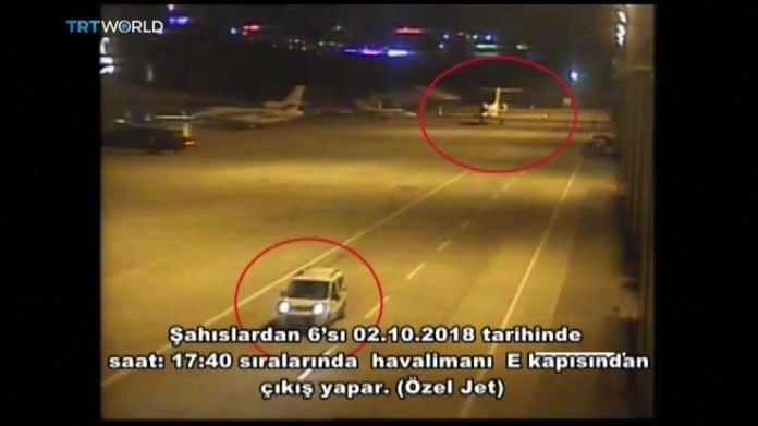 A white jeep and private jet on airport tarmac  15-man Saudi 'hit squad' pictured on day journalist disappeared skynews saudi consulate jamal khashoggi 4449025
