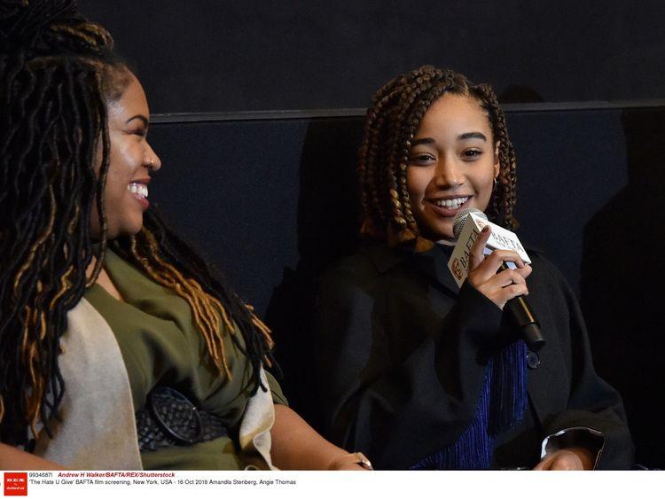 'The Hate U Give' BAFTA film screening, New York, USA - 16 Oct 2018 Angie Thomas (left), Amandla Stenberg
