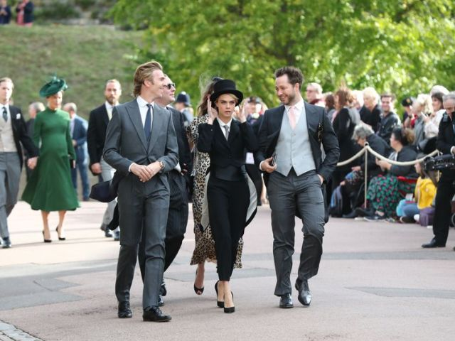 Cara Delevigne arriving at Eugenie's royal wedding