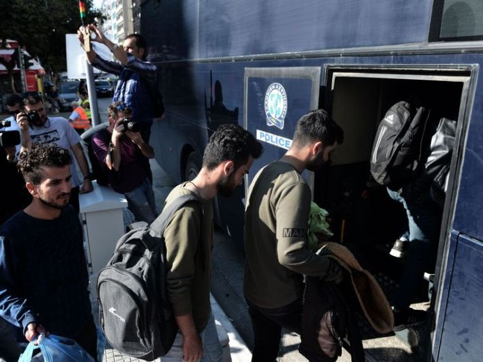It is not clear whether there was enough space for the new arrivals  Migrants camp outside police station in Greece waiting to be arrested skynews greece migrants 4447591