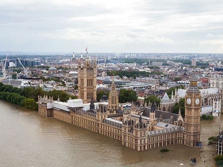 London as it might look if flooded. Pic: Climate Central