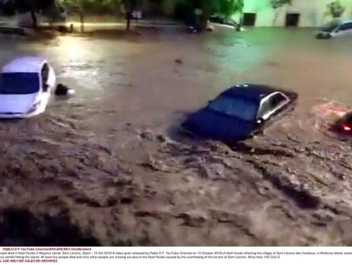 Flash floods affecting the village of Sant Llorenc des Cardasar, in Mallorca  Two Britons among eight dead in Majorca flooding skynews mallorca majorca flood 4448752