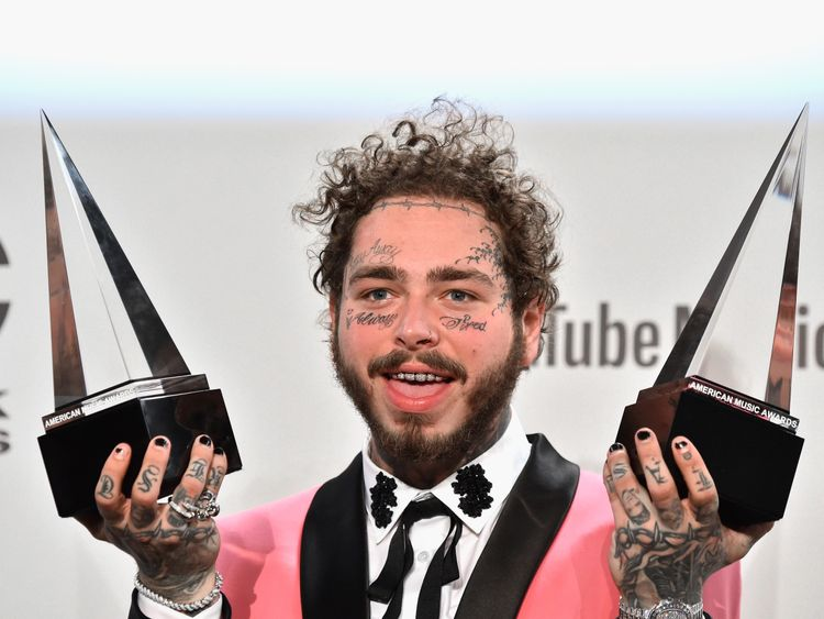 Post Malone was among the winners at the American Music Awards 2018