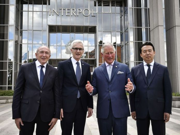 The Prince of Wales and Interpol president Meng Hongwei   Interpol demands 'clarification' from China on missing chief Meng Hongwei skynews prince charles meng hongwei 4443929