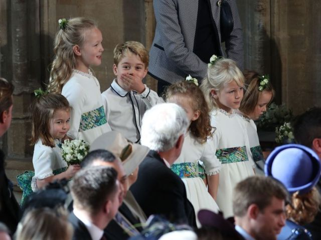 The bridesmaids and page boys, inclduing Prince George and Princess Charlotte, arrive for the wedding