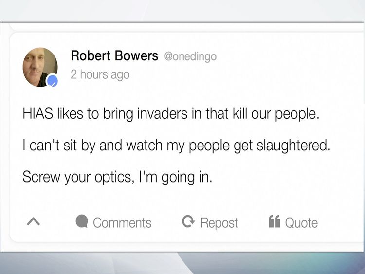 Social media account thought to be that Robert Bowers