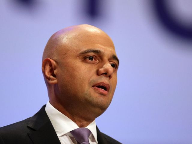 Home Secretary Sajid Javid speaking at the Conservative Party annual conference in Birmingham
