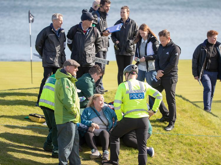 The woman was hit by a tee shot at the 15th hole