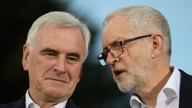 BRIGHTON, ENGLAND - SEPTEMBER 23: Labour Party Shadow Chancellor John McDonnell (L) speaks with leader Jeremy Corbyn ahead of a speech at a Momentum rally on September 23, 2017 in Brighton, England. The annual Labour Party conference is set to start tomorrow, running for four days. (Photo by Leon Neal/Getty Images)