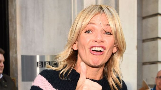Zoe Ball leaves the Radio 2 Breakfast Show at BBC Broadcasting House in London after being named first female host, replacing Chris Evans