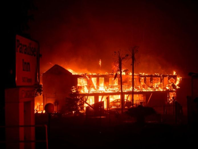 Paradise Inn was gutted by the blaze  At least five people killed in their cars as California wildfires spread and Malibu is evacuated skynews california fire 4481781