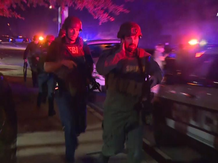 Armed response units surround the area in Thousand Oaks where a shooting was taking place