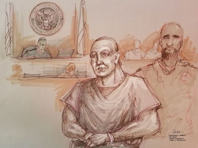 Cesar Sayoc in an artist's sketch during his appearance in a Miamia federal court