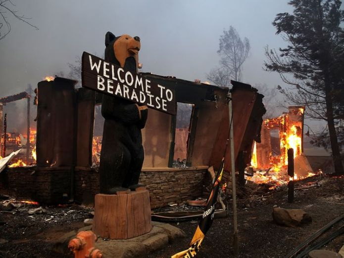 Large buildings were flattened by the blaze  Thousands displaced in California wildfire skynews paradise california 4481096