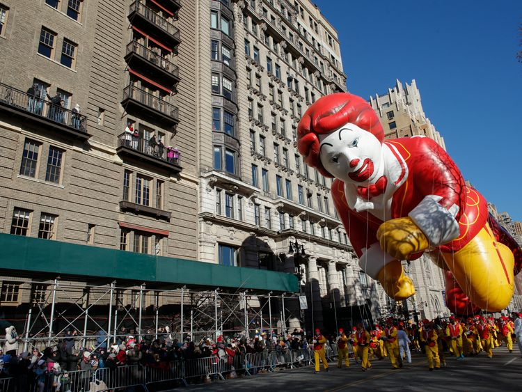 A balloon of Ronald McDonald, the fast food chain's mascot, was part of the parade