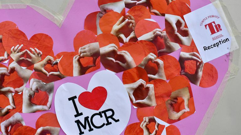 tributes to the victims of the Manchester Arena terror attack in May 2017