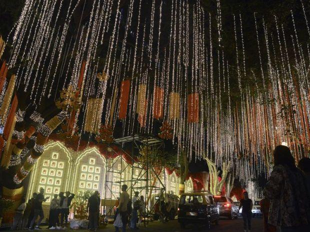 Lights have gone up at the Ambanis billion-dollar home in Mumbai