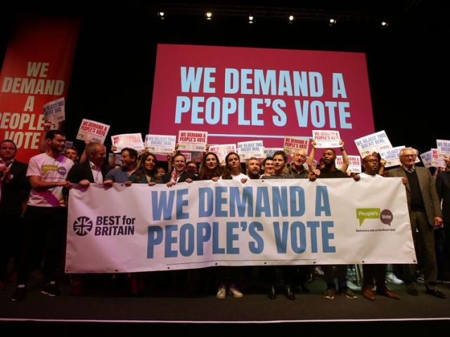Pro-Europe speakers, politicians and celebrities pose on stage for a photograph at a rally for Best for Britain and People's Vote campaign in London on December 9, 2018, on the eve of the week in which Parliament votes on the Brexit deal. (Photo by Daniel LEAL-OLIVAS / AFP) (Photo credit should read DANIEL LEAL-OLIVAS/AFP/Getty Images)
