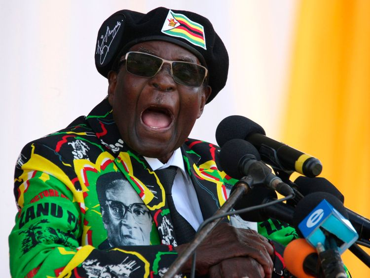 Robert Mugabe delivers a speech during the Zimbabwe ruling party Zimbabwe African National Union- Patriotic Front youth interface Rally in Bulawayo, 2017