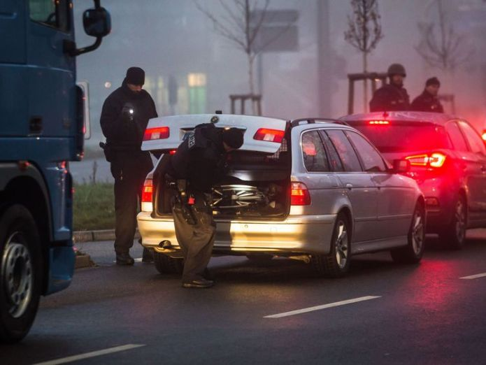 German police in Kehl were searching cars at the border with France